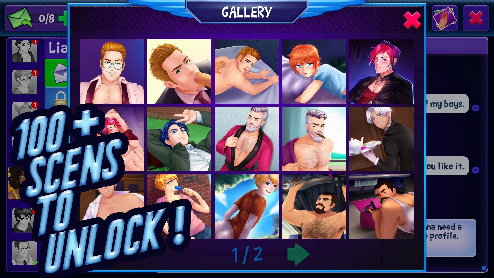 100+ scenes to unlock in Fap CEO gay sex game